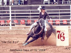 Tee Jay on Lil at Deadwood PRCA Rodeo